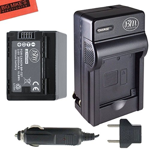 BM Premium BP-727 Battery and Charger for Canon Vixia HFR80,