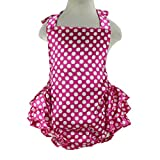 Wennikids Baby Girl's Summer Dress Clothing Ruffle Baby Romper Large Hot Pink Dot