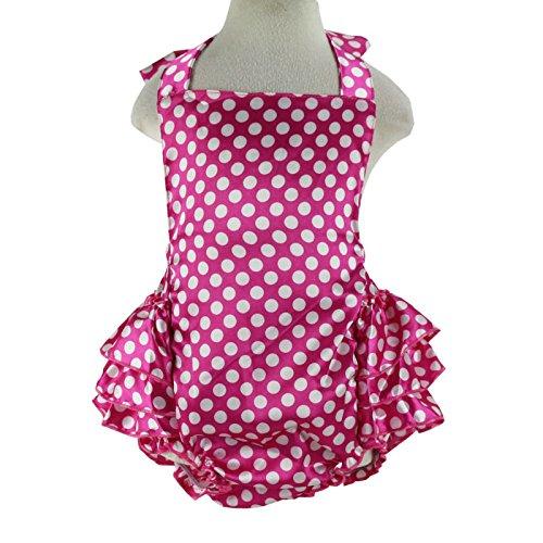Wennikids Baby Girl's Summer Dress Clothing Ruffle Baby Romper Medium Hot Pink Dot -