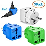 Yubi Power Grounded 2 in 1 Schuko Plug Adapter Type E/f for Europe, France, and More... / with Two Universal Plug in Ports /Grounded - Ce Certified - Rohs Compliant--3 Pack Blue,Green,White