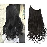 Adjustable Headband Halo Hair Extensions Black Wavy Curly Long Synthetic Hairpiece 16 Inch 3.9 Oz Hidden Wire for Women Heat Resistant Fiber No Clip SARLA(M03&2#)
