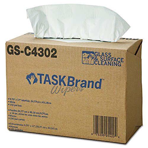 Hospeco TaskBrand Scrimtask GS-C4302, White, 4-Ply Tissue and Scrim to provide Extra Strength. Exceptional Wipe Dry for cleaning of Glass and Smooth Surfaces. (6 Iboxes of 150) ) ()