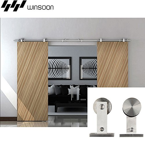 WINSOON Interior Garage Closet Brackets Double Stainless Steel Sliding Wood Barn Door Hardware Track Heavy Roller Kit (13FT / Double Door Kit)