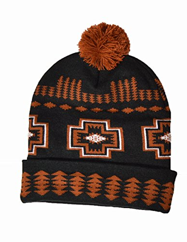 Hecho mano marrón Pattern American Hat Beanie Indian a Native Bobble negro BBxq5r6