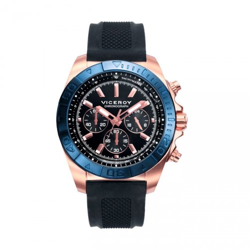 Rubber Man Watch Viceroy 471039-57 Steel IP Rose Chronograph