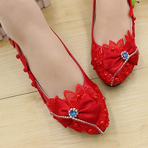 Honor Vestido Fiesta 3cm Bowknot Mujeres Novia Boda Altura Verano Hechas Zapatos Mano Resorte Personalizar amp; Banquete Dama Del Y Rojo A Talón La Calcomanías Las De Si PHARpA
