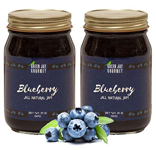Green Jay Gourmet Blueberry Jam - All-Natural Fruit Jam with Blueberries & Lemon Juice - Vegan, Gluten-free Jam - Contains No Preservatives or Corn Syrup - Lemon Blueberry Jam Made in USA - 40 Ounces ()