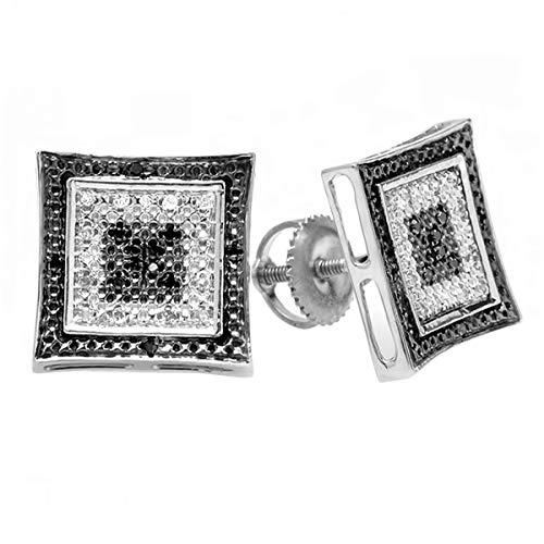 0.15 Carat ctw Black White Round Diamond Micro Pave Setting Kite Shape Stud Earrings