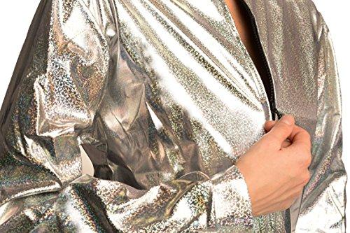 34 Zip Disco Argento LissKiss Sparkles Shiny Unisex Unica 38 Taglia Gloss Jacket Giacca Silver qFwY7