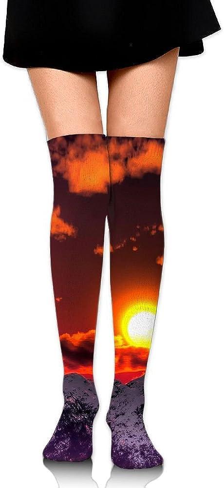 High Elasticity Girl Cotton Knee High Socks Uniform Sunset And Mountain Women Tube Socks