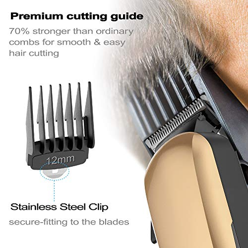 Hair Clippers for men Professional Cordless Rechargeable Hair Cutting Kit with 6 Metal Guard Combs,Ciwellu Electric Hair Trimmer with Taper Lever,Built-in 2000mAh Li-ion Battery and Heavy Duty Motor