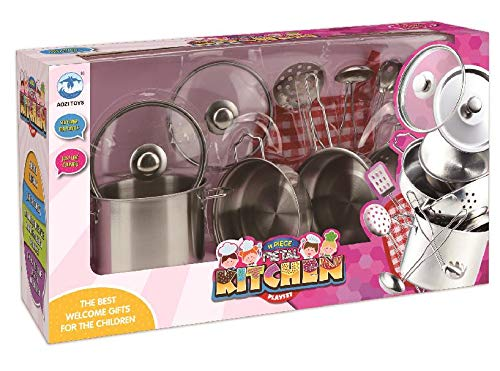 Play Pots and Pans Toys for Kids Kitchen Playset Pretend Cookware Mini Stainless Steel Cooking Utensils Development Toys for Toddlers /& Children Ages 3 Years and up