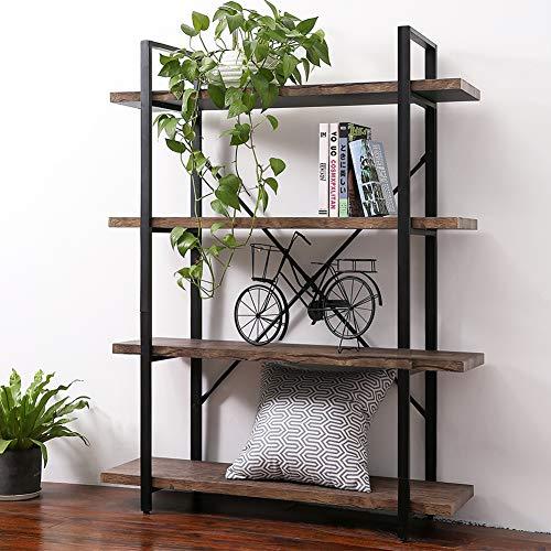 dustrial Bookshelf, Open Etagere Bookcase with Metal Frame, Rustic Book Shelf, Storage Display Shelves, Vintage Wood Grain - Walnut Brown ()
