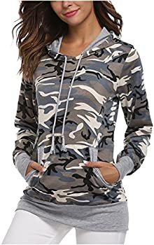 FUDITAI Camouflage Pocket Sweatshirts Outdoor Women's Hoodies