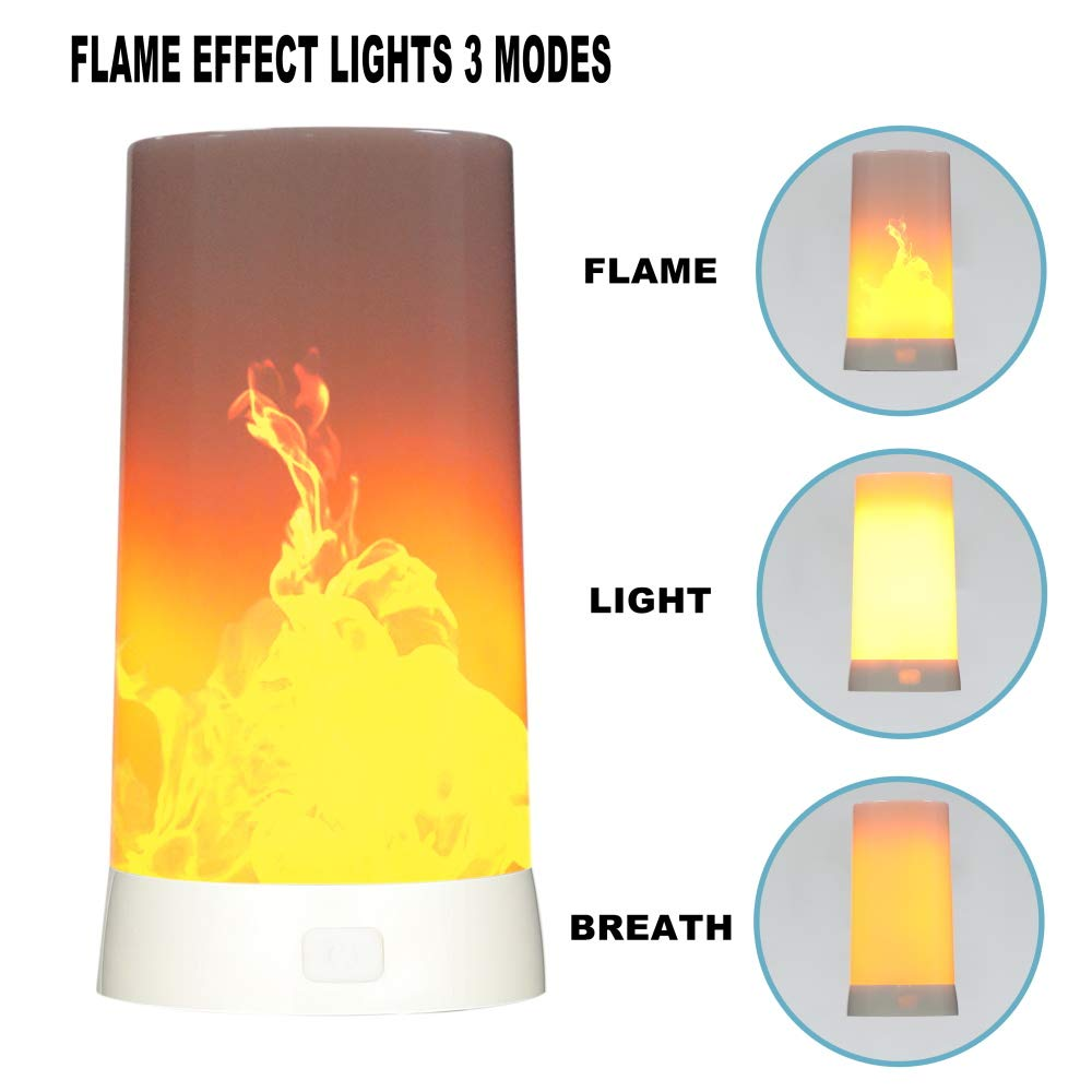 Led Flame Light,Rechargeable USB Flame Lamp,3 Flame Modes Waterproof Table Lamp with Magnetic Base for Halloween Party by SYANZ