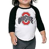 Kid's Osu Ohio State Buckeyes Logo Toddler Boy Girl 3/4 Sleeves Raglan T-Shirt 100% Cotton