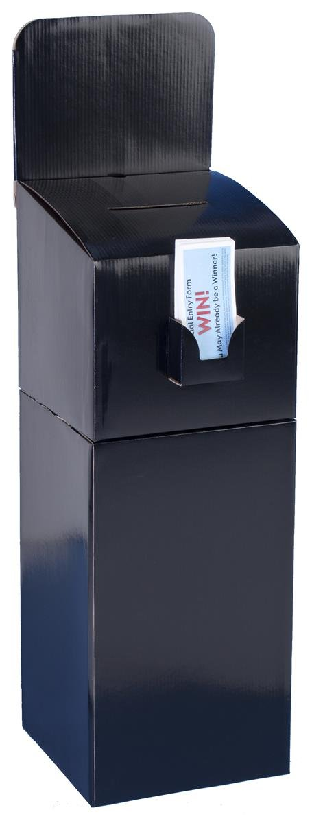 Displays2go Floor-Standing Cardboard Ballot Box with Header and Brochure Pocket, Detachable Design Also Allows for Counter Use of Comment Box - Black (FPKSGB05BK)