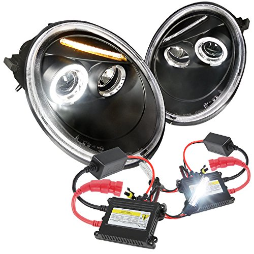 Vw 98-05 Beetle Black LED Halo Projector Headlights+H1 6000K HID Conversion Kit Halo Headlights Conversion