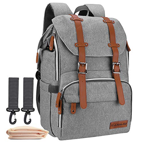 Diaper Bag Backpack, Large Baby Bag Multi-Function Waterproof Nappy Bag with Changing Pad and Stroller Straps for Unisex Travel Shopping (Linen Gray)