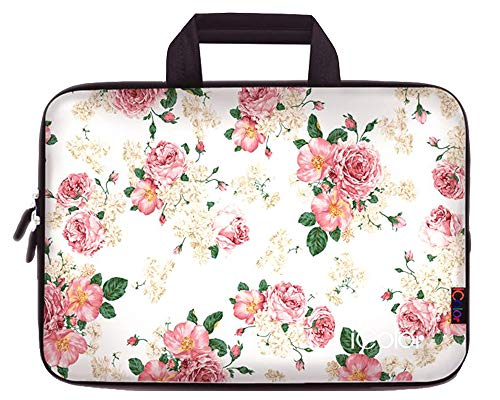 iColor Floral Neoprene Sleeve Case with Handle for 15-15.6 I