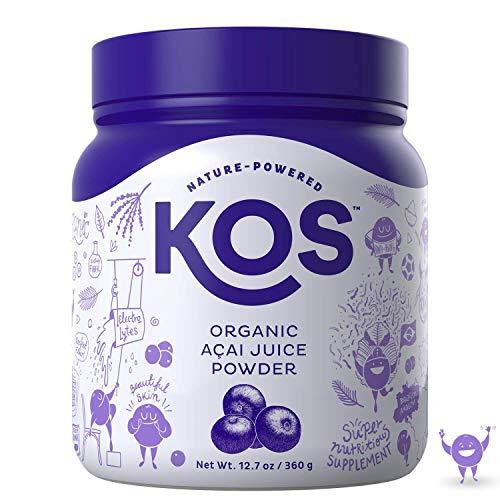 KOS Organic Açaí Juice Powder | Natural Antioxidant Superfood Açaí Juice Powder | Polyphenol Abundant, Anti-Aging, USDA Organic, Non-GMO Plant Based Ingredient, 360g, 120 Serving ()