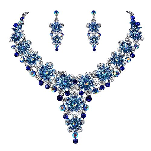 BriLove Women's Wedding Bridal Statement Necklace Dangle Earrings Jewelry Set with Crystal Multi Hibiscus Flower Royal Blue Sapphire Color Silver-Tone