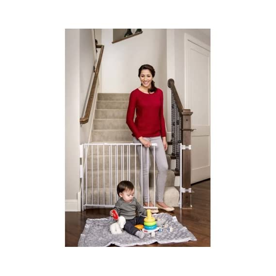 Regalo Extra Tall Top of Stairs Expandable Metal Baby Safety Gate with Mounting Kit (White)