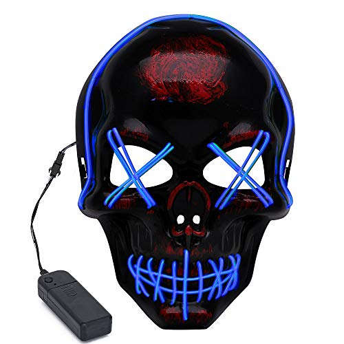 Halloween LED Wire Scary Light Up Glowing Mask for Cosplay, Costume Party