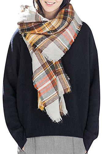 - Bess Bridal Women's Plaid Blanket Winter Scarf Warm Cozy Tartan Wrap Oversized Shawl Cape (One Size, Yellow)