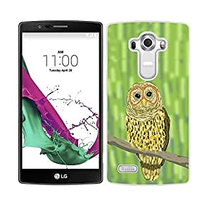 Funda carcasa para LG G4 diseño ilustración búho estampado fondo verde borde blanco