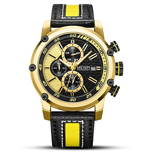 Quartz watch US Siegel domestic and foreign sports chronograph men's watch fashion watch 2079 stone, Gold shell gold surface black belt, Gold shell gold surface black ()