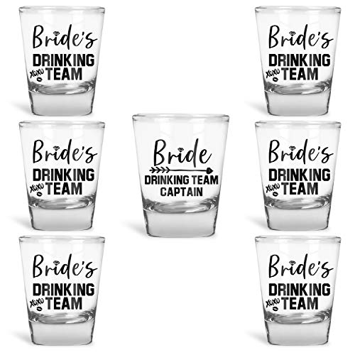Bridesmaid Shot Glasses (Bridesmaid Gifts Bride's Drinking Team Shot Glasses - Pack of 6 Bride's Drinking Team Member + 1 Bride's Drinking Team Captain - 1.5 oz - Bachelorette Party)