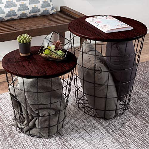 Lavish Home Nesting End Tables with Storage Cherry