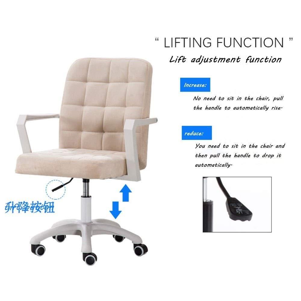 Dalovy bekväm kontorsstol uppgift svängbar verkställande datorstol, flanelltyg mitten av baksidan tyg spelstol med armstöd justerbar höjd: 17,6-20,8 tum Rosa