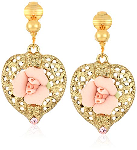 (1928 Jewelry Women's Gold-Tone Pink Crystal and Porcelain Rose Filigree Heart Drop Clip Earrings, Pink, One Size)