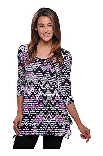 Nygard 3/4 Sleeve Blouse - Nygard SLIMS Plus 3/4 Sleeve Tunic BlkWhtOrchidCbo 2X