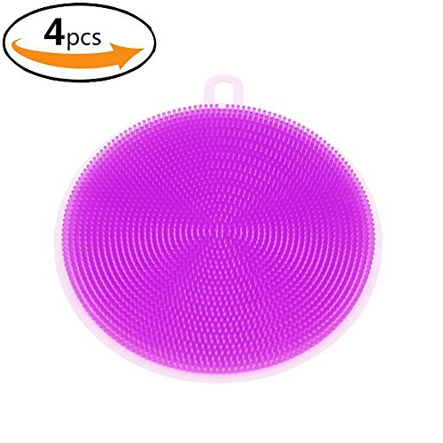 4 Pack Silicone Sponge Antibacterial Dish Brush Scrubber for