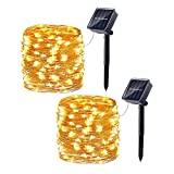 2 Pack Solar String Lights, 33ft 100LED 8 Modes Outdoor String Lights, Waterproof Decorative String Lights for Patio, Garden, Gate, Yard, Party, Wedding, Christmas (Warm White)