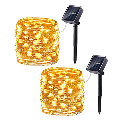 2 Pack Solar Christmas Lights, 33ft 100LED 8 Modes Copper Wire Solar String Lights, Waterproof Solar Fairy Lights for Outdoor, Patio, Garden, Gate, Yard, Party, Wedding, Christmas (Warm White)