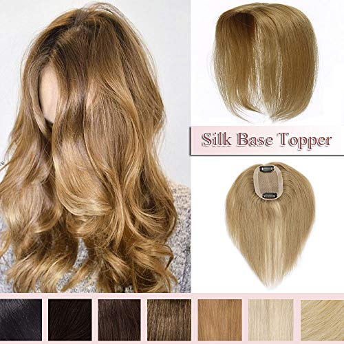 100% Real Human Hair Silk Base Top Hairpiece Clip in Topper Wig for Women Crown in Hand-made Toppee Middle Part with Thinning Hair Loss Hair #27 Dark Blonde 6''15g (Hair Clip Wigs)