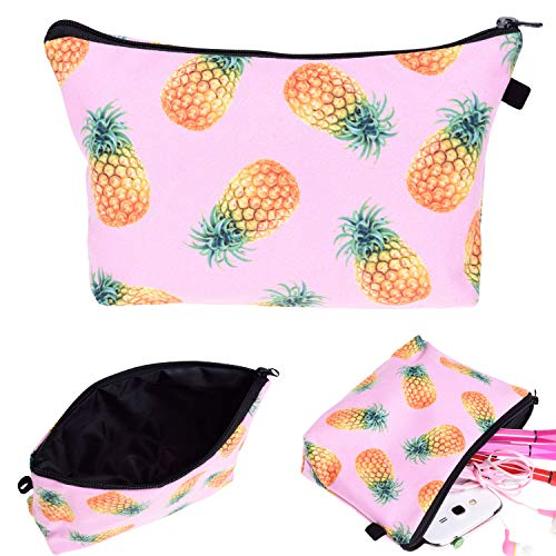 Portable Makeup Bag Organizer Travel 3D Printing Small Cosmetic Bags Zipper Pen Cases Brush Storage Pouch for Women Girls Purse (Pink Pineapple) (Special Pineapple A Pencil With)