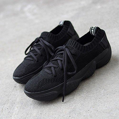 negro 36 Muffin Encaje Zapatos De Malla Transpirable Mujer Corriendo Casual Dhg Grueso vPH4wqxP