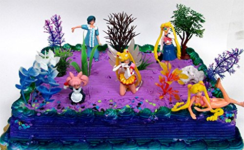 Fabulous 10 Piece Sailor Moon Themed Birthday Cake Topper Set Featuring Personalised Birthday Cards Beptaeletsinfo