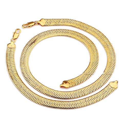 SOPO 18K Gold Filled 10mm Necklace Bracelet Set Herringbone Chain for Men by SOPO Jewelry