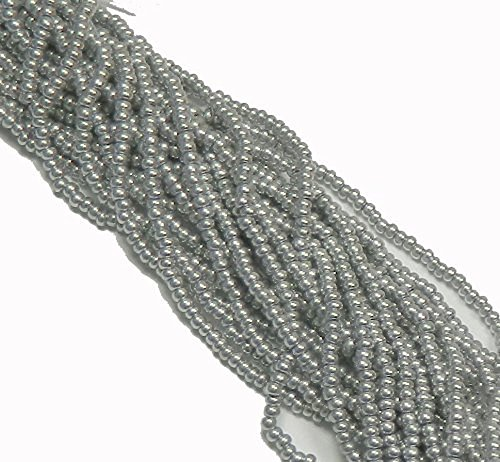 Bright Silver Czech 8/0 Glass Seed Beads 1 Full 12 Strand Hank Preciosa Jablonex