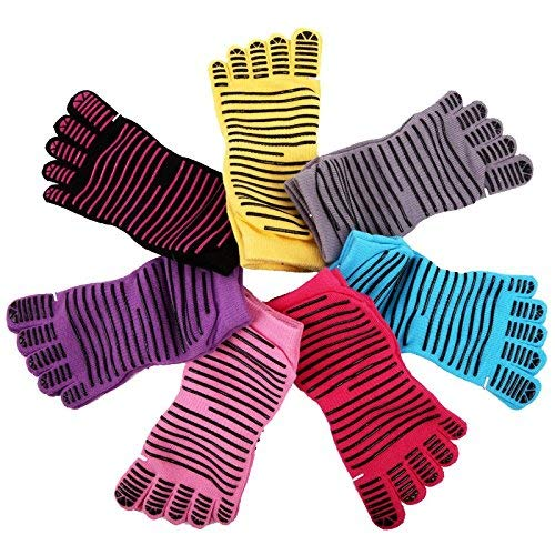 euwanyu Anti-Slip Fitness Yoga Pilates Dance Barre Socks ...