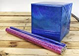 Gift Wrapping Paper Rolls, Pack of 3, Narrow and Long, Iridescent Holographic Shiny Wrapping Paper - Gift Wraps for Birthdays, Valentines, Christmas, 17.3 x 1.4 Feet