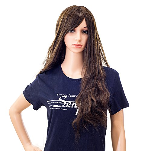 Long Brunette Wig (SWACC 26-Inch Women Long Wave Curly Synthetic Hair Full Wig with Wig Cap (Brown Mixed))