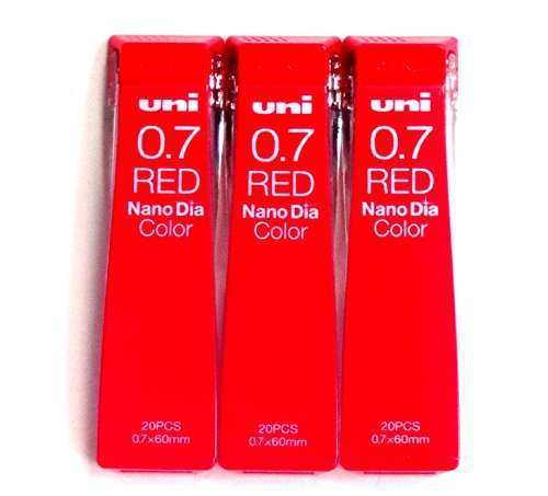 Uni Mechanical Pencil Lead Nano Dia Color 0.7mm, Red (U07202NDC.15), 20 Leads 3 Pack/Total 60 Leads (Japan Import) [Komainu-Dou Original Package]
