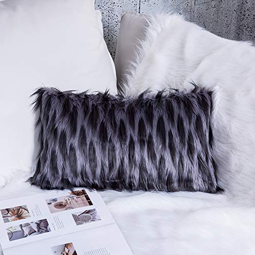 Ojia Deluxe Home Decorative Super Soft Plush Mongolian Faux Fur Two Colors Throw Pillow Cover Cushion Case (12 x 20 Inch, Fox Grey)
